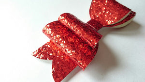 Ruby Red Glitter Hair Bow