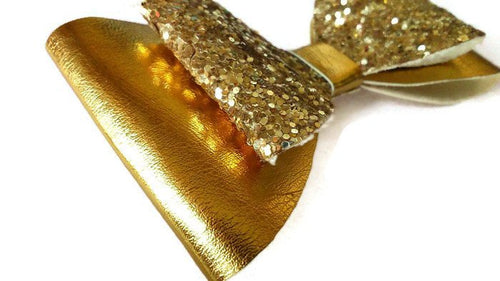Glitter and leatherette double bow