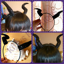 Load image into Gallery viewer, Black Dragon Glitter Horns
