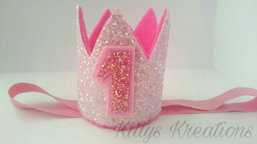 First Birthday Glitter Crown