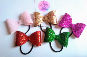 Mini Glitter Bows, various colours