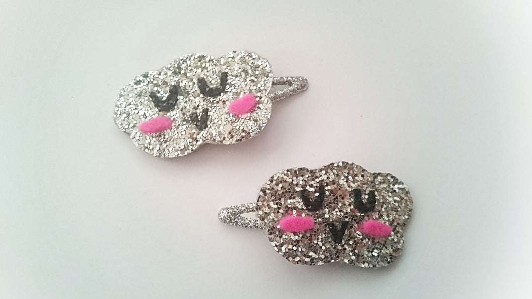 Silver glitter cloud clips