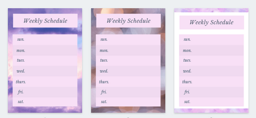 Weekly Schedule (purples)