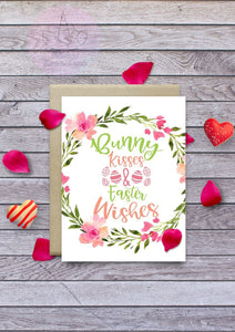 Bunny Kisses Easter Wishes Card Printable
