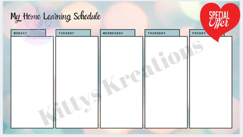 My Home Learning Schedule Printable