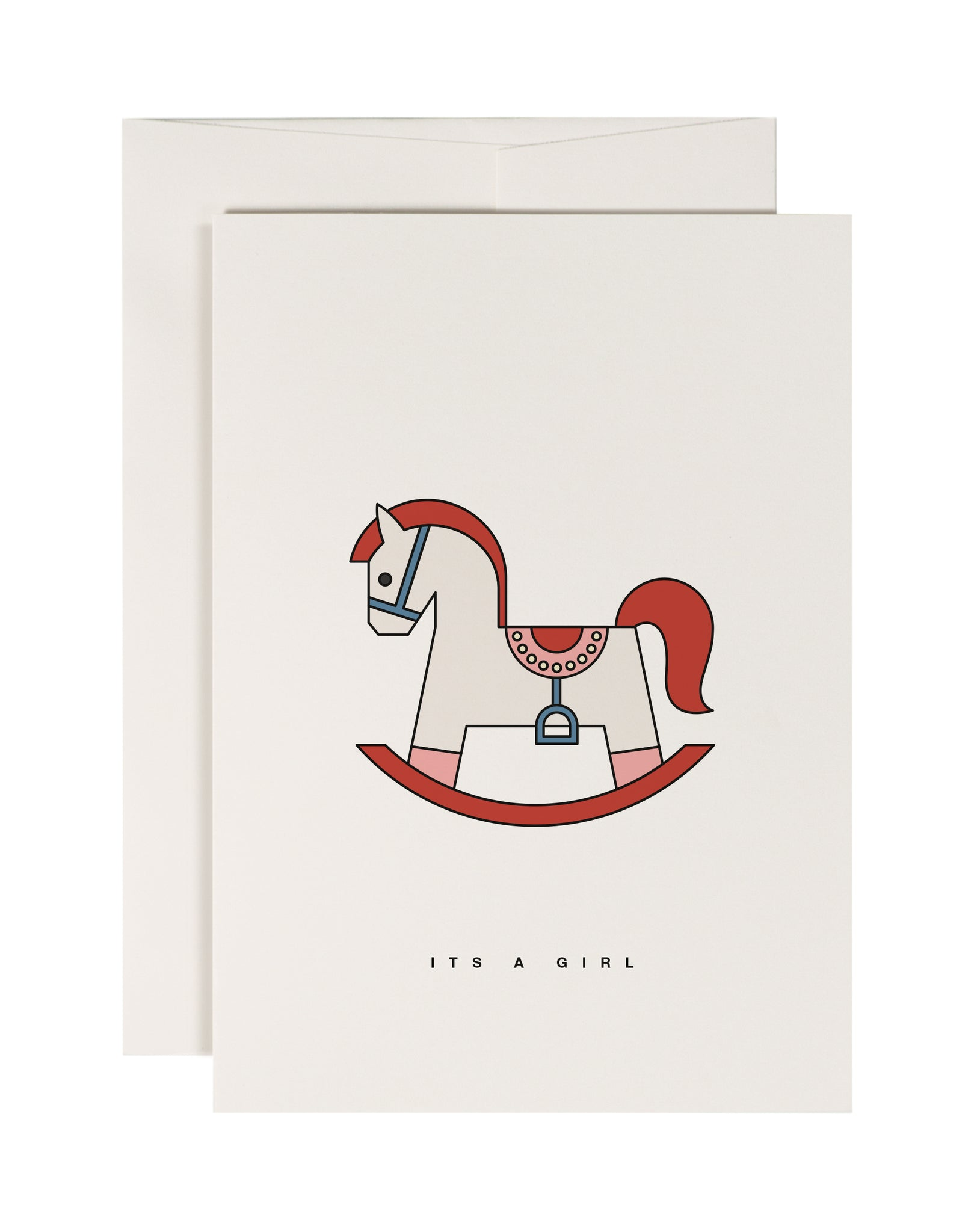 Pink Rocking Horse - New Baby Card - Loola Loves UK