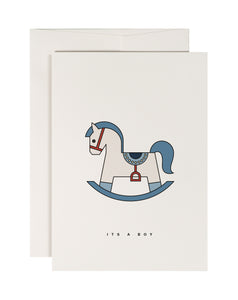 Blue Rocking Horse - New Baby Card - Loola Loves UK