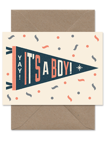 It's A Boy Pennant Card - Loola Loves UK