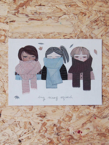 Big Scarf Squad Postcard - Loola Loves UK