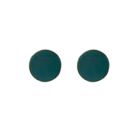 Forest Green Brass Round Studs
