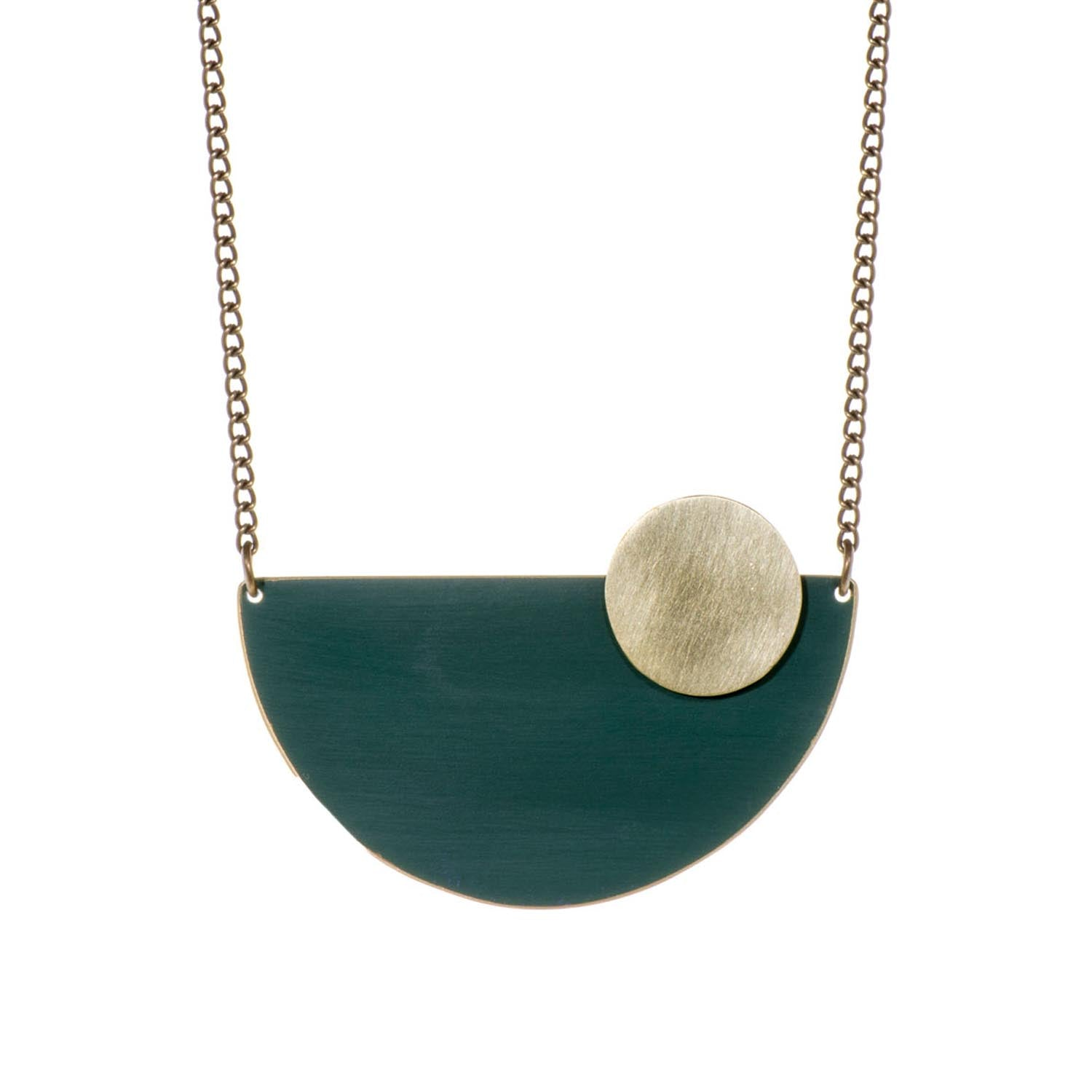 Forest Green Semi Circle Brass Pendant