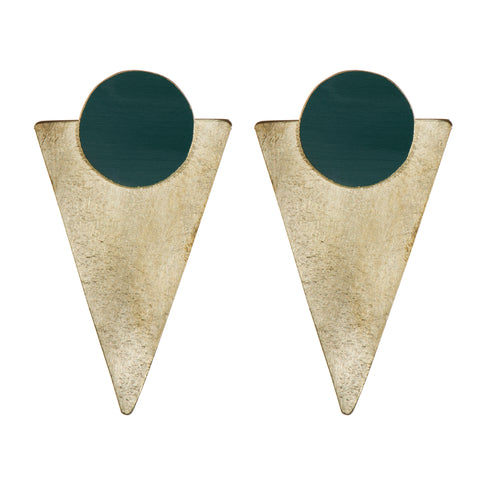 Forest Green Brass Statement Studs