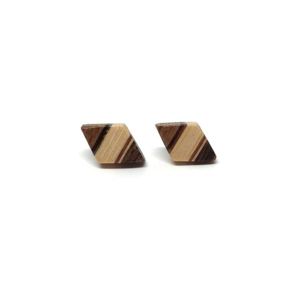 Wooden Stud Earrings - Petite Dark Diamond - Loola Loves UK