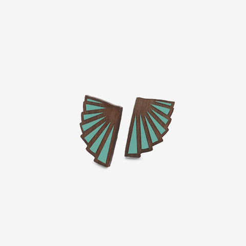 Éventail Teal Studs - Loola Loves UK