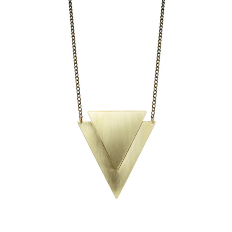 Geometric 'Lucie' Brass Necklace