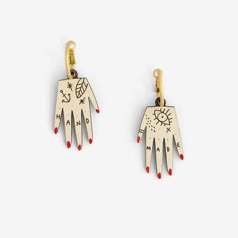 Tattooed Hand Hoop Earrings - Loola Loves UK