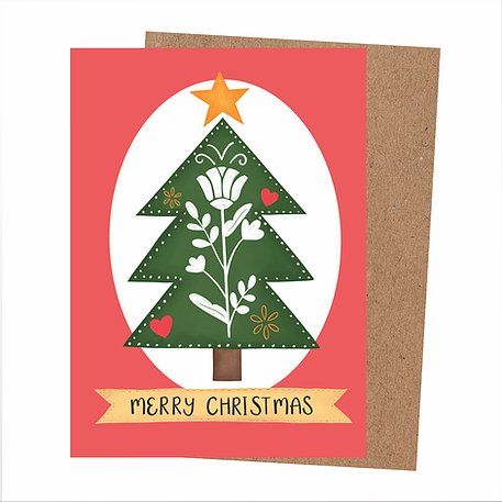 Red Christmas card, with white oval shape, featuring a danish folk inspired Christmas tree design, topped with a yellow star. Below is a yellow ribbon with the wirds 'Merry Christmas'. Card comes with a brown Kraft envelope.