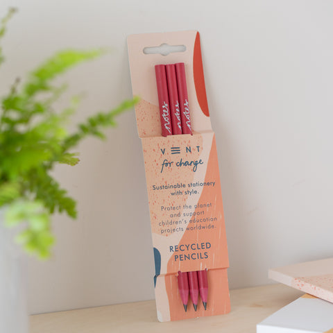 3 Pink Recycled Pencils - Coral - Loola Loves UK