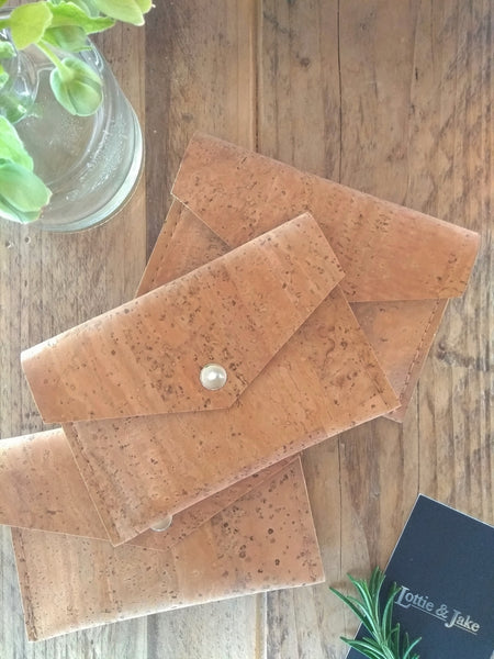 Natural Cork Purse – Silver Press Stud