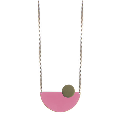 Pink Semi Circle Brass Pendant - Loola Loves UK