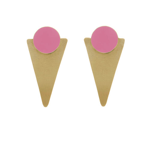 Pink Brass Statement Studs - Loola Loves UK