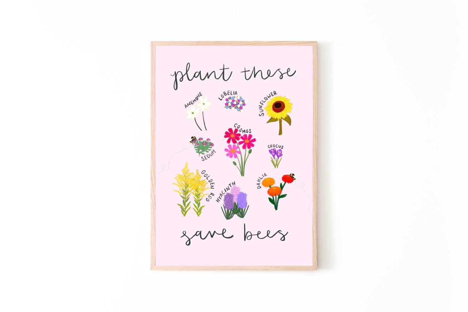 Plant These Save Bees Print - A4 - Loola Loves UK