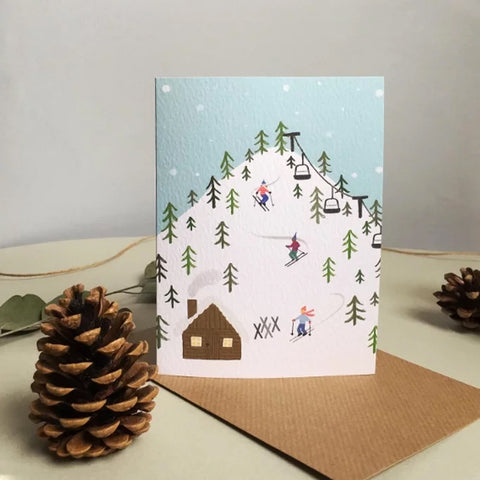 Skiing Christmas Card - Loola Loves UK