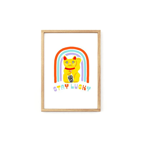 Stay Lucky Cat Print - A4