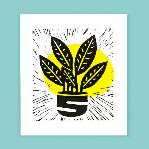 Abstract Houseplant Lino Print (TJL2) - Original Artwork - Loola Loves UK