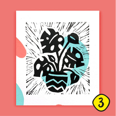 Abstract Monstera Houseplant Lino Print (TJL3) - Original Artwork - Loola Loves UK