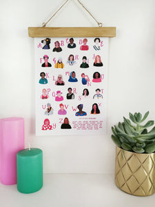 A-Z of Totally Amazing Women Print - A4 - Loola Loves UK