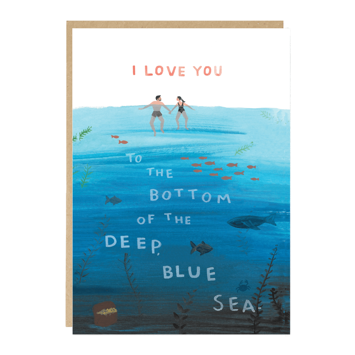 I Love You to the Bottom of the Deep, Blue Sea. Card - Loola Loves UK
