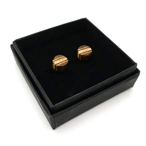 Wooden Stud Earrings - Petite Dark Round with Stripes - Loola Loves UK