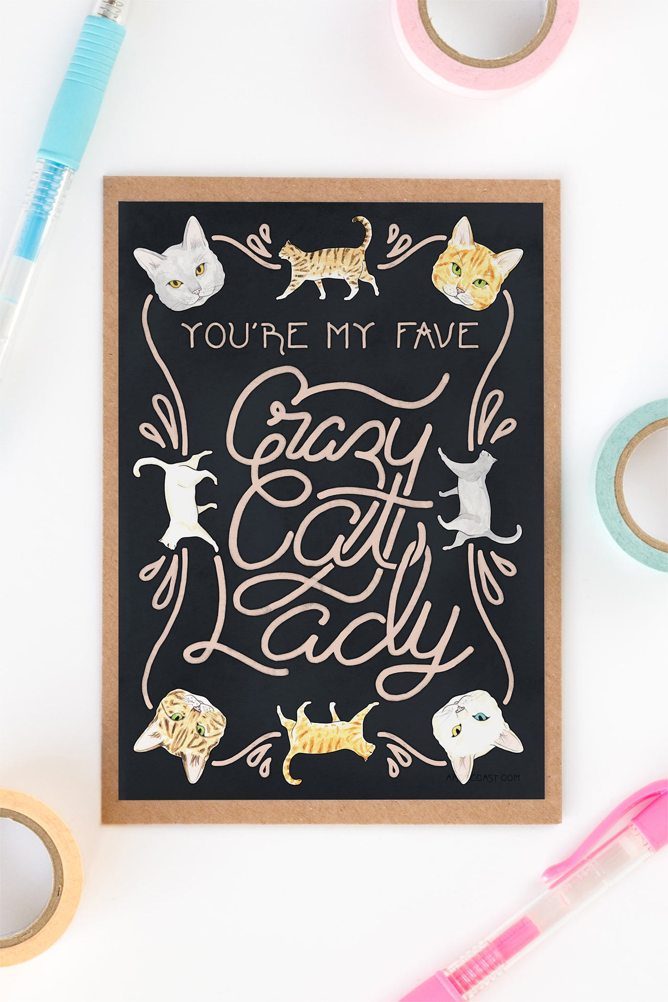 You're My Favourite Crazy Cat Lady Card - Loola Loves UK