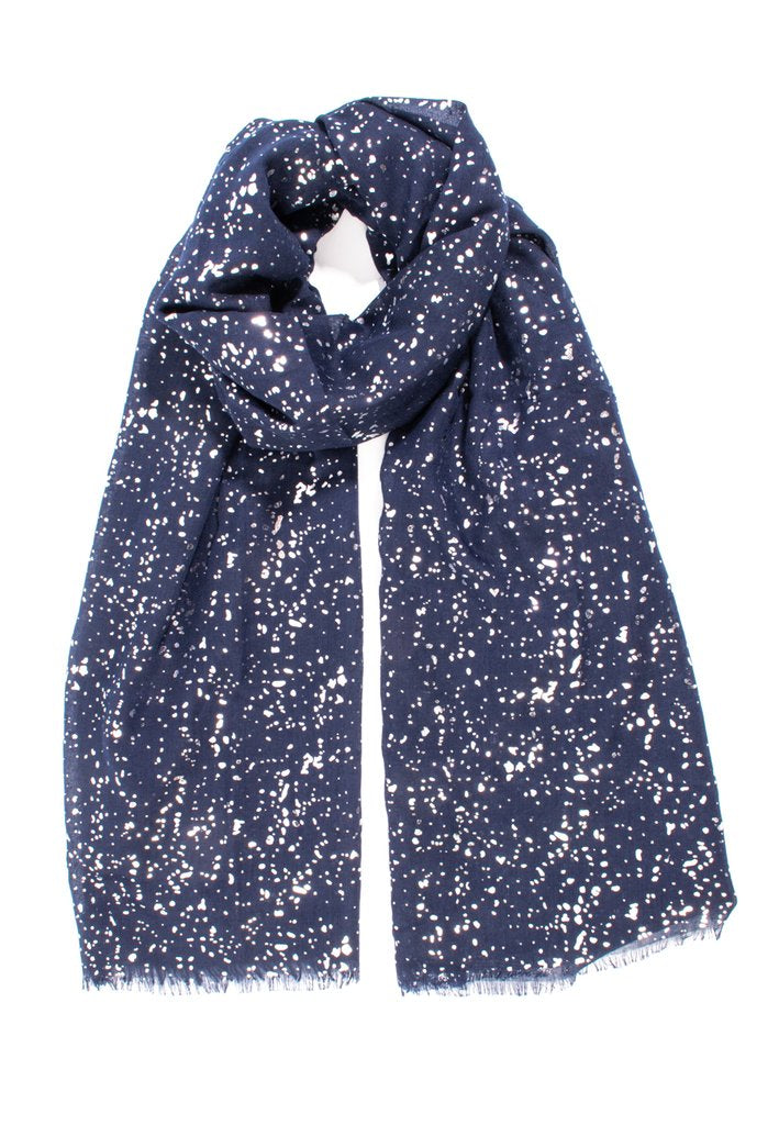 Navy Scarf with Silver Spotty Pattern