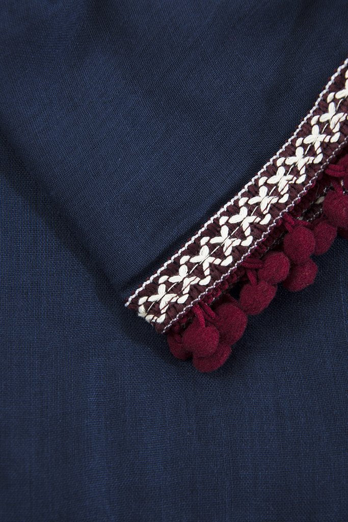Navy & Burgundy Scarf with Aztec Trim & Pompoms