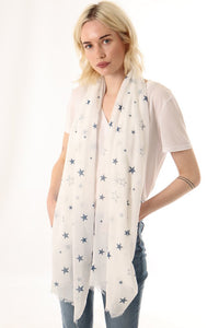 White Scarf with Glitter Blue Stars