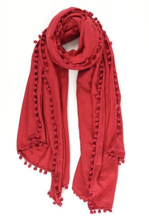 Pompom Scarf in Red