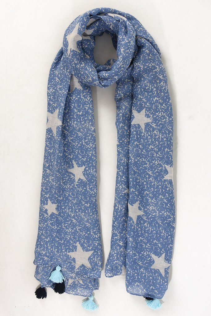 Blue Scarf with White Stars & Tassels