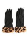 Black Gloves with Leopard Cuff