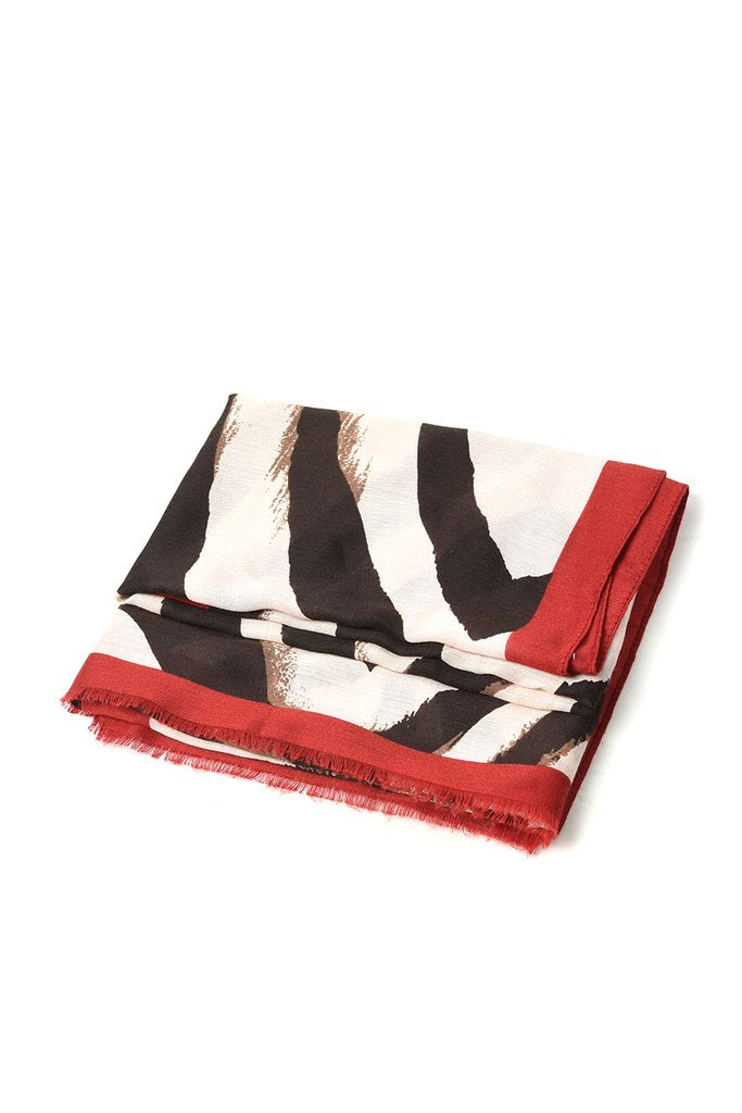 Zebra Print Scarf with Burgundy Edge