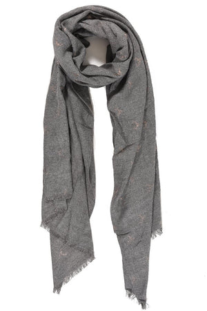 Grey Scarf with Rose Gold Stags