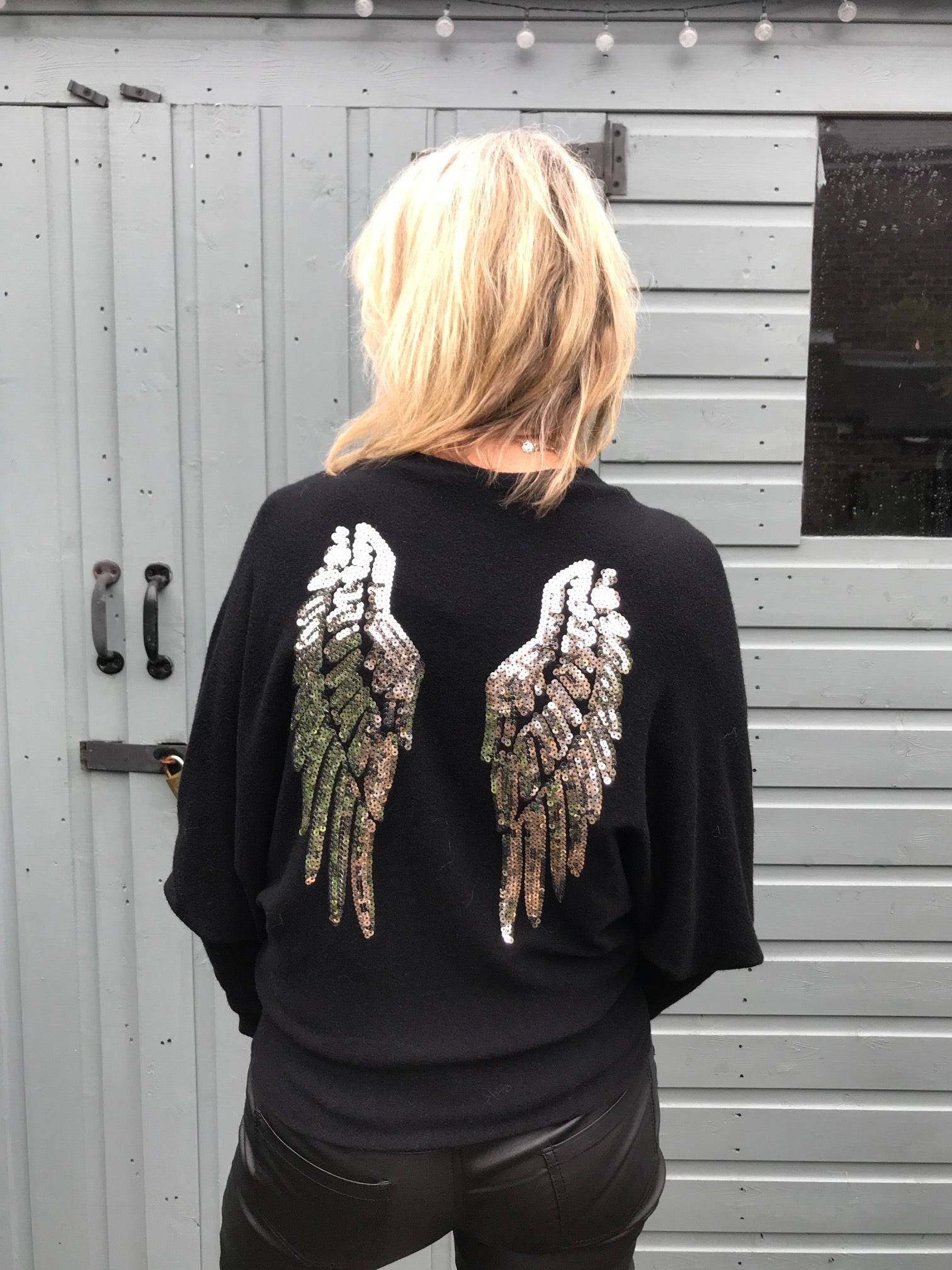 Black Batwing Jumper with Sequin Angel Wings