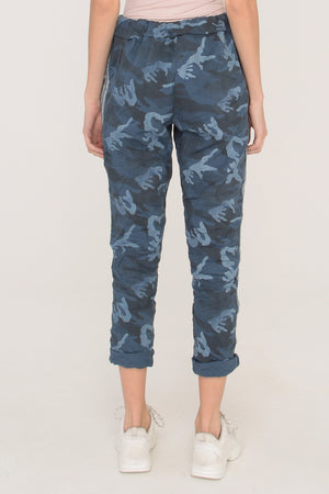 Blue Camo Joggers with Silver Stripes