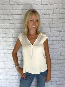 White Satin Blouse with Lace Detail