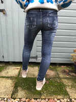 Distressed Jeans with Button Fly