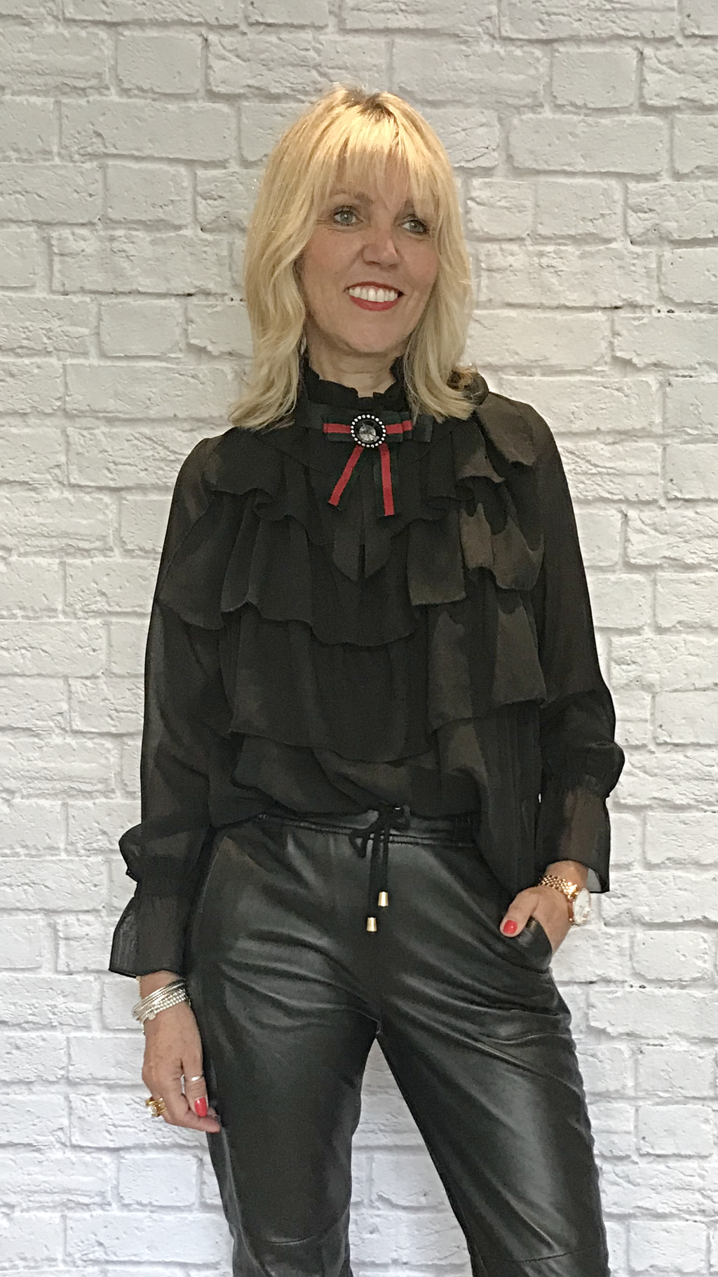 Black Ruffle Blouse with Detachable Brooch