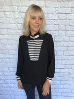 Black Silky Blouse with Marine Stripes