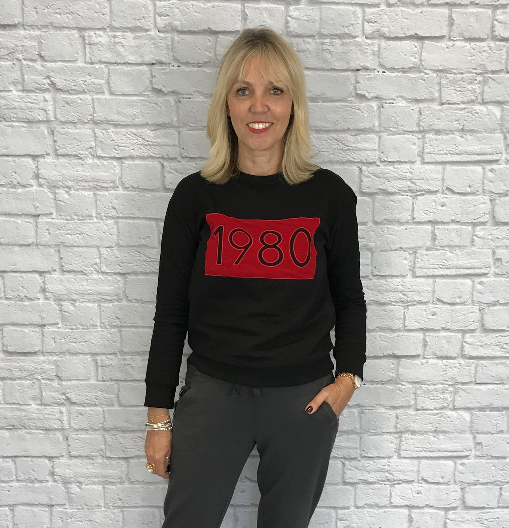 Black Sweatshirt with Red 1980 Logo