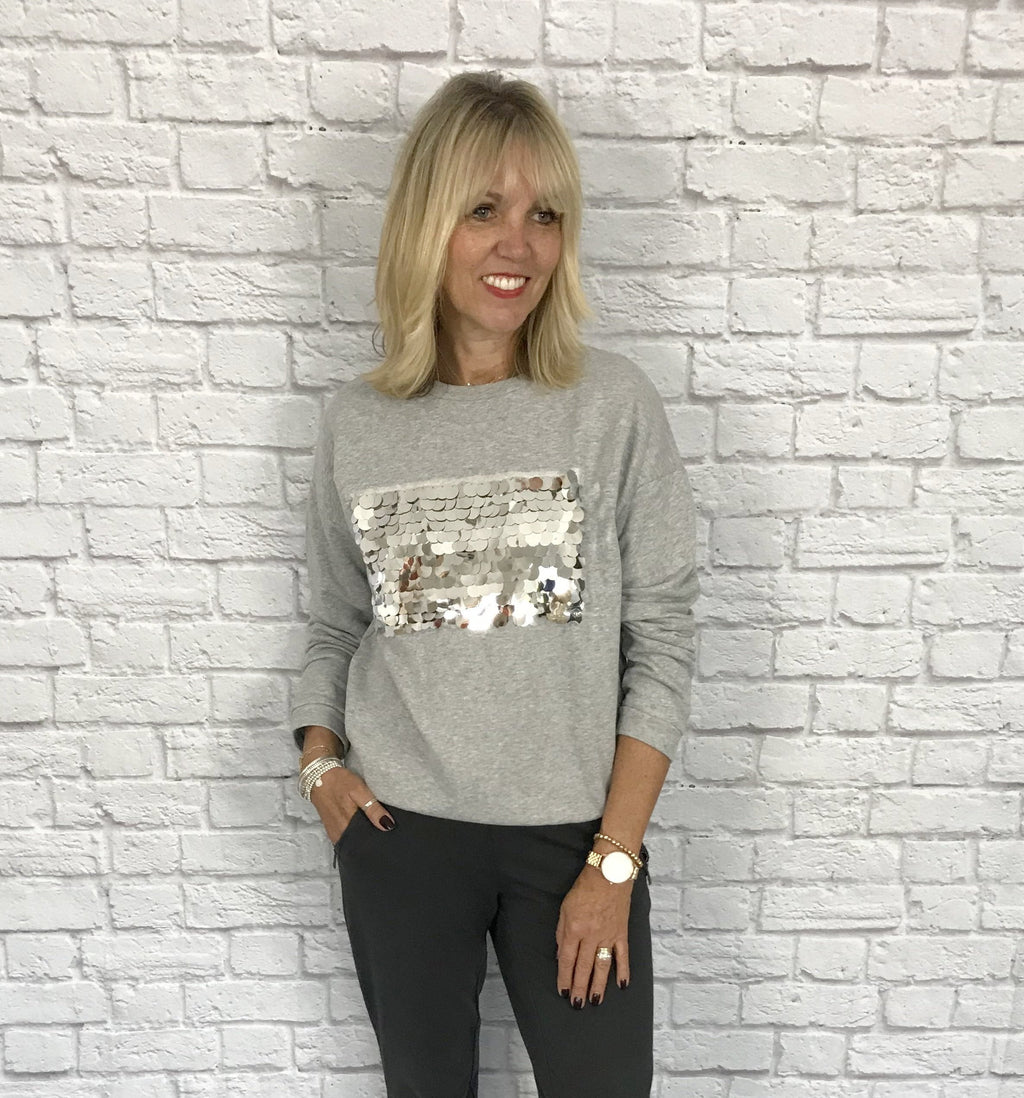 Grey Sweatshirt with Silver Sequins